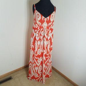 INC Orange And White Patterned Sleeveless Dress